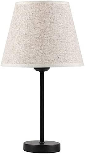 Lámpara Escritorio Lámpara de mesilla de Noche, lámpara de Mesa de Lino, luz de Noche LED de Noche de Dormitorio, lámpara de Mesa Minimalista Moderna
