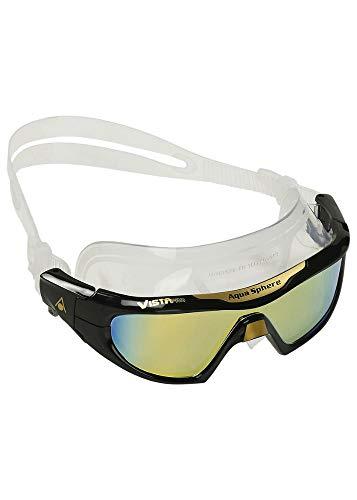 Aqua Sphere Vista Pro Máscara de natación, Unisex, Lente de Espejo de Titanio Negro/Dorado, L