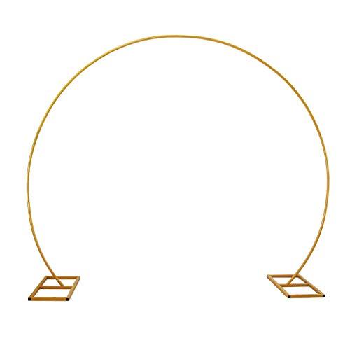 ESTEAR Metall Runde Hochzeit Bogen Höhe 2,4 m, Ballon Bogen Unterstützung, Pflanze Klettergerüst, Gebogene Bögen für Geburtstag Hochzeit Mädchen Party Dekorationen - Gold