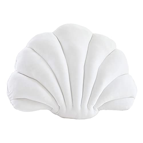 Almohada de terciopelo con diseño de concha, almohada de relleno para respaldo de silla, cojín de asiento de oficina, almohada decorativa con temática oceánica para el hogar, blanco, 32 x 25 cm