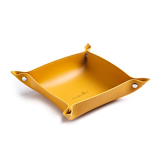 SANQIANWAN Leather Valet Tray Small Catchall Trays Desk Organizer for Phone,Keys,Glasses,Wallet,Earphone Personalized Utility Portable Office/Home Use Tray(Yellow-B)