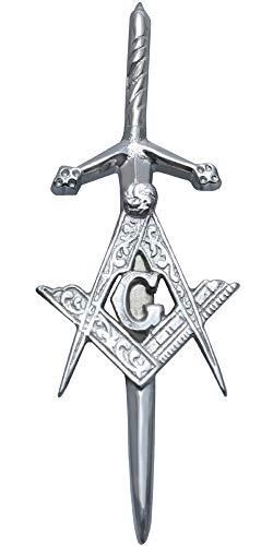 MajesticUSA Kilt Pins for Men Highland Scottish Accessory Shamrock, Thistle, Lion, Masonic, Stag Head, Celtic Circle, Irish Sword Brass Steel and Chrome Finish Construction (Masonic), Large
