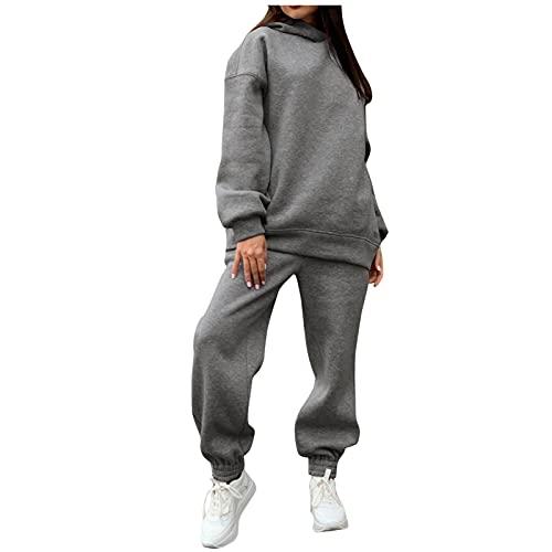 Eauptffy Sportanzüge 2 Stück Outfit Set Freizeitanzug Loungewear Sportbekleidung Zweiteiler Sweatshirt und Jogginghose Loose Fit Zweiteiliger Anzug Elastischer Bund Fitnessanzug für Jogging Yoga Gym