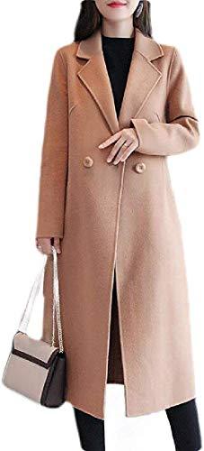 Womens Fall & Winter PEA Coat Solid Woollen Blend Mid Length Trench Coat Overcoat