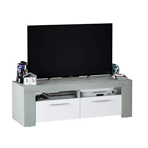 Habitdesign Mueble de Comedor Moderno, modulo TV Salon, Modelo Ambit, Acabado en Color Blanco Artik y Gris Cemento, Medidas: 120 cm (Ancho) x 40 cm (Alto) x 42 cm (Fondo)