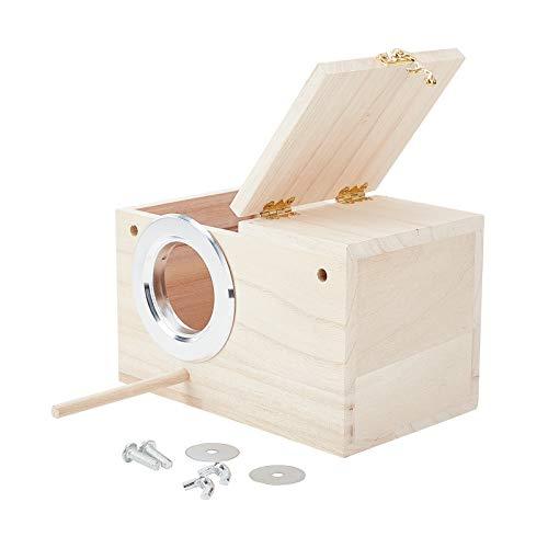 AHANDMAKER Wood Breeding Box, Parakeet Nesting Box Bird Nest Breeding Box Cage Wood House for Finch...