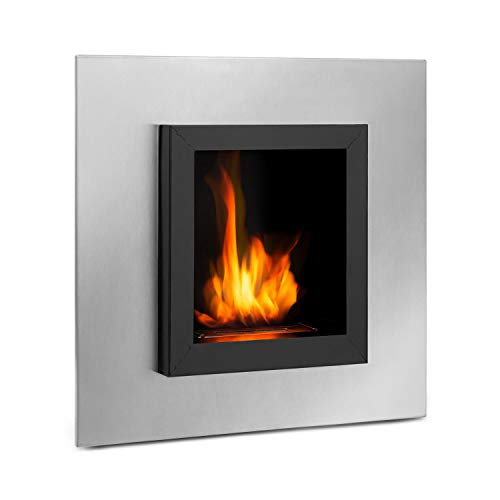 Klarstein Phantasma Cuadro Ethanol Fireplace - Smokeless & Odourless, Stainless Steel Bio-Ethanol Burner, Recessed Wall, 600 ml Tank, Approx. 4 Hours Burn Time, Extinguishing Aid