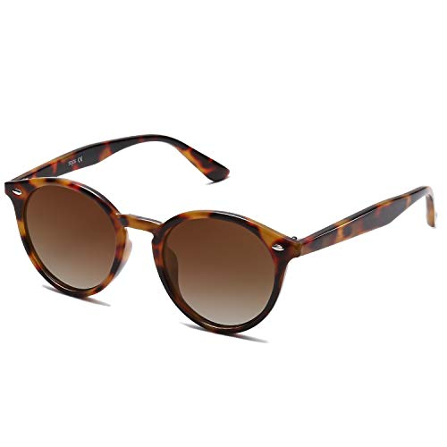 SOJOS Classic Retro Round Polarized Sunglasses UV400 Mirrored Lens SJ2069 ALL ME with Brown Frame/Brown Lens with Rivets