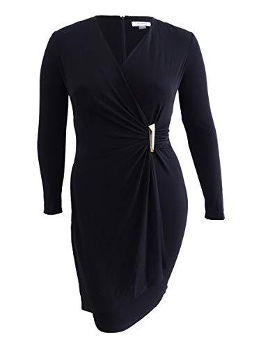 Calvin Klein Women's Faux Wrap Dress With Hardware, Black, 2