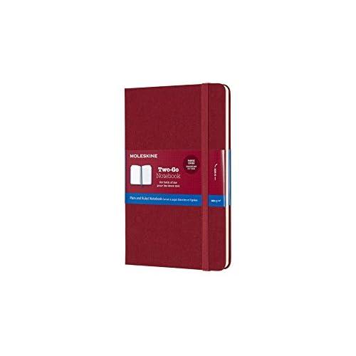 Moleskine Notebook Classic Pagina Bianca e a Righe, Taccuino Rigida Morbida in Cotone Canvas e Chiusura ad Elastico, Colore Rosso Mirtillo, Dimensione Media 11, 5 x 18 cm, 144 Pagine