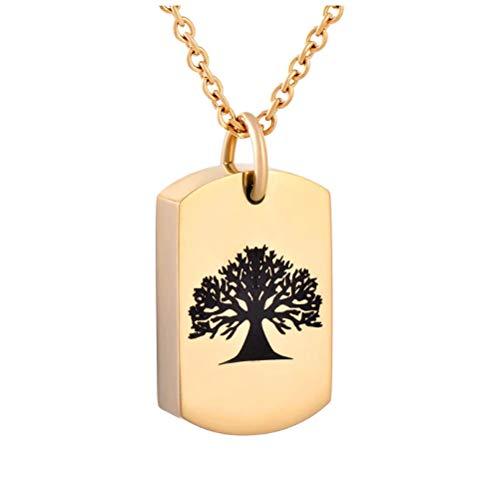 Wxcvz Colgante Cenizas Collar De Urna De Cremación con Grabado De Árbol Negro Dorado Plateado para Cenizas Collar De Recuerdo De Cenizas Conmemorativas