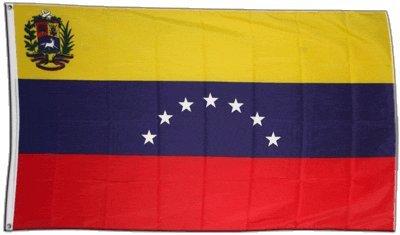 Fahne / Flagge Venezuela 7 Sterne mit Wappen 1930-2006 + gratis Sticker, Flaggenfritze®