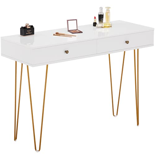 GreenForest Vanity Desk with 2 Drawers White Makeup Desk with Glossy Desktop Dressing Table with Gold Legs Best Gift for Women Girls Daughters Small Computer Desk 47inch for Bedroom, White
