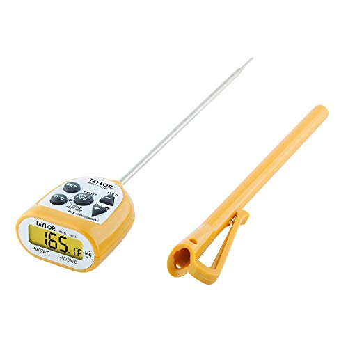 Taylor Precision Products Compact Waterproof Digital Thermometer, 4.5 Inch Stem, Yellow