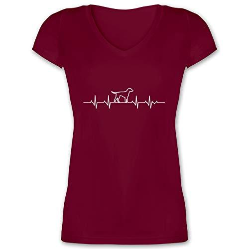 Hunde - Herzschlag Hund - M - Bordeauxrot - Herzschlag t-Shirt Damen - XO1525 - Damen T-Shirt mit V-Ausschnitt