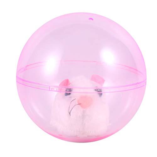 Toyvian Running Hamster Toy Cat Ball Toy Hamster de Peluche en Plástico Transparente Bola Rodante Bola del Ratón para Bebés Niños Jugando (Blanco)