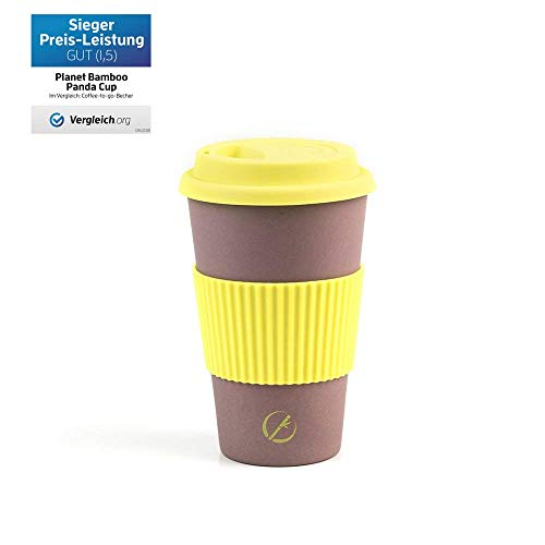 Planet Bamboo ♻ Tazza di caffè Termica in fibra di Bamboo (400 ml | Lemon Tree) Coffee to go Bicchiere con coperchio e polsino in silicone