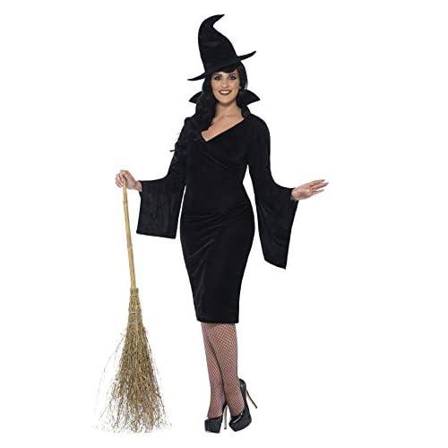 SMIFFYS Costume Strega con Curve, Nero, comprende Abito e Cappello