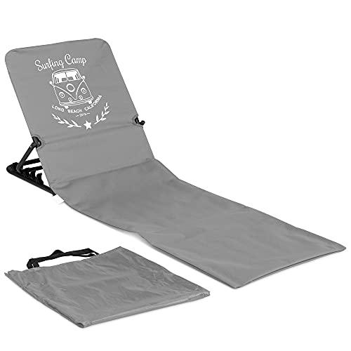 JEMIDI Strandmatte Strandstuhl mit Rückenlehne - 1,7 kg Matte mit Lehne Strandliege Liegematte - faltbar leicht tragbar - Summer Lounge Design - Grau