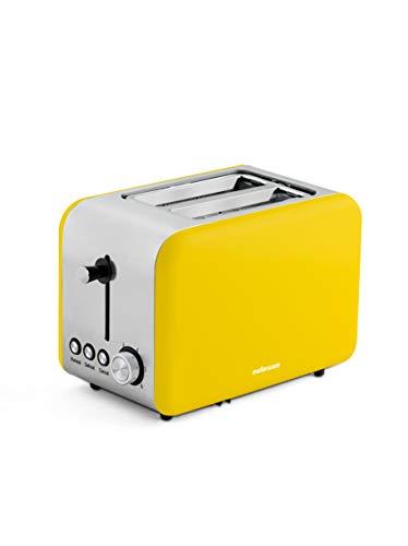 Mellerware - Tostadora Crispy! 850W. 2 ranuras 14x4cm. Acero inoxidable. Diseño Original. Función recalentar y descongelar. (Amarillo)