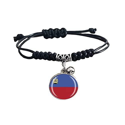 Pulsera de tejido ajustable estilo bandera de Liechtenstein, regalo de recuerdo de viaje