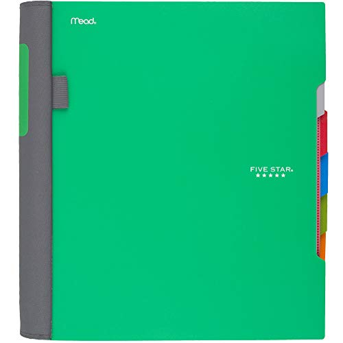 Five Star Advance Spiral Notebook, 5 Subject, College Ruled Paper, 200 Sheets, 11 x 8-1/2 inches, Green (73148)
