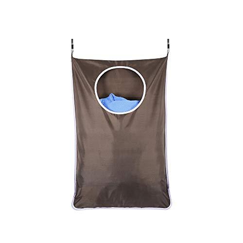 Donpow Waszak, ruimtebesparend, om op te hangen aan de muur, wasmand, waszak met 2 haken van roestvrij staal, 2 zuighaken voor deur