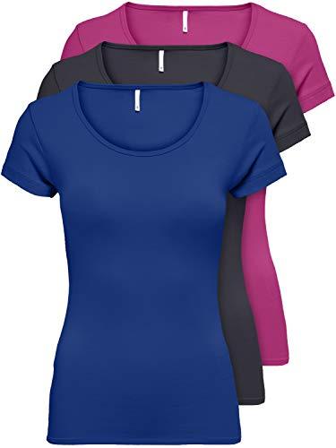 ONLY 3er Pack Damen T-Shirt schwarz oder weiß Kurzarm lang Basic Sommer T-Shirts XS S M L XL 15209153 (Farb Mix 4, S)