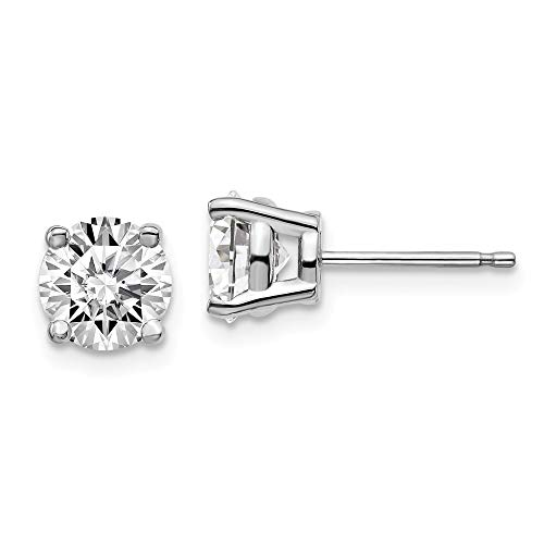 14k White Gold 2ctw Lab Grown Diamond Si1/si2 J 4 Prg Post Stud Earrings Fine Jewellery For Women Gifts For Her