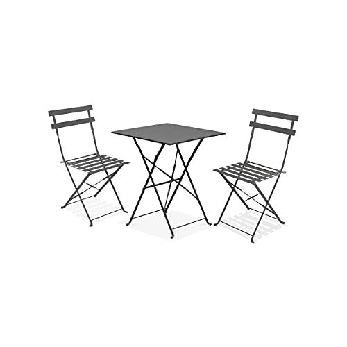 Oviala Table bistrot de Jardin et 2 chaises Pliantes Gris Carré 60 x 60 x 71 cm Acier 2 Places Rome