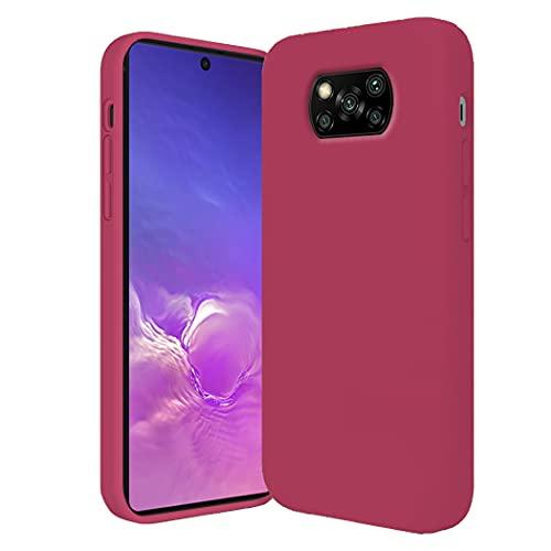 Funda Compatible con Poco X3 Pro Funda Silicona Líquido Poco X3 Pro Case Suave Rosa Teléfono Móvil Xiaomi Poco X3 Pro Delgado (Fucsia, Xiaomi Poco X3 Pro)