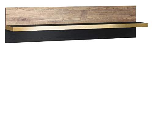 Mirjan24 Wandregal 120 Mahalo MH-09, Buchregal, Wandboard, Wandschrank, Regal, Media-Regal, Arbeitszimmer, Wohnzimmer, Hängeregal (Schwarz + Eiche Wersal/Schwarz + Gold)