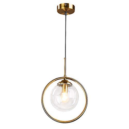Hobaca® E27 Kreis Kupfer Gold Bernstein Glas nordisch Modern Pendelleuchte Hängelampe Küchenleuchte Esszimmer Hanglamp Wohnzimmer