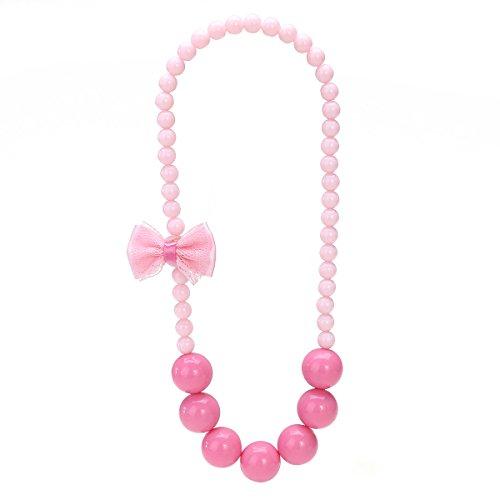 LUOEM Little Girl Dress up Pedant Princess Bracelet Beaded Necklace for Custome Dress (Pink)