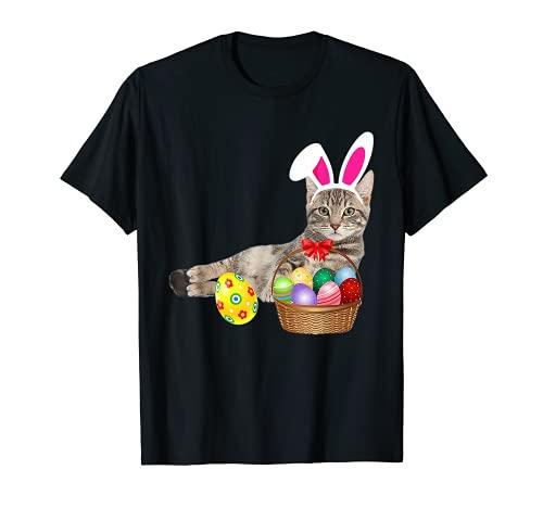Lindo gato da de pascua conejito huevos disfraz regalo Camiseta