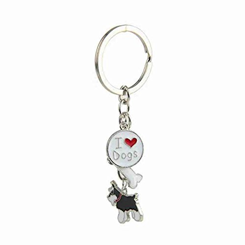 Zoonpark®-Hunde-Schlüsselanhänger, süßer kleiner Hunde-Schlüsselring, aus Metall, Metall, Black Schnauzer, Small
