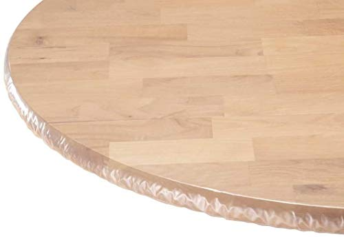 LAMINET - Plastic Elastic Fitted Table Cover Protector - Clear - Oblong/Oval - Fits Tables up to 48' x 68'