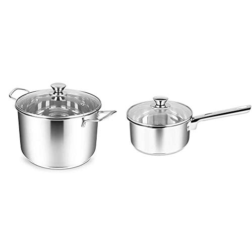 Penguin Home Stainless Steel 24x16cm/6L Stock Pot with Glass Lid, Mirror Finish, Large & 3002 Professional Induction-Safe Saucepan with Lid, Stainless Steel, 18 cm, 2 liters