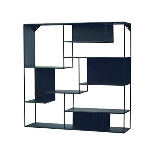 Estantes flotantes, estante colgante, rectángulo, estantes flotantes, estante decorativo de pared con caja de almacenamiento de hierro, estante negro disponible (tamaño: 60 * 20 * 110 cm) kyman