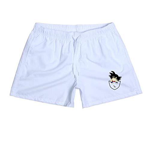 Pantalones Cortos de Verano para Hombres Goku Pantalones de Surf Casuales Pantalones de Playa para Hombres Pantalones Cortos para Hombres y Mujeres Blanco S