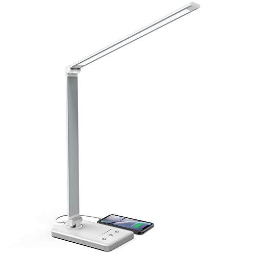 Schreibtischlampe, LED Tischlampe Bürolampe Dimmbar Mit USB, 5 Farb- und 10 Helligkeitsstufen, Touch-Bedienung, Faltbar, Tischleuchte für Büro und Haus