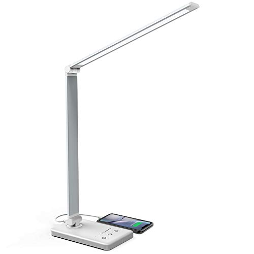 Lampe de Bureau LED, Jirvyuk LED Lampe de Table 5 Modes de Couleur et 10 Niveaux de Luminosité Ajustable Contrôle Tactile Protection des Yeux avec 1 Port Chargeur USB pour Charger Smartphone (Argent)