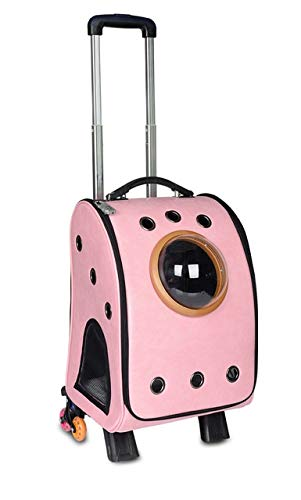 Mdsfe Pet carry backpack Dog cats trolley bag rolling luggage for pets - 2
