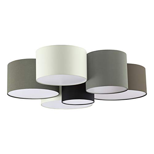 EGLO Deckenlampe Pastore, 6 flammige Textil Deckenleuchte, Material: Stahl, Stoff, Farbe: weiß, braun, grau, schwarz, Fassung: E27