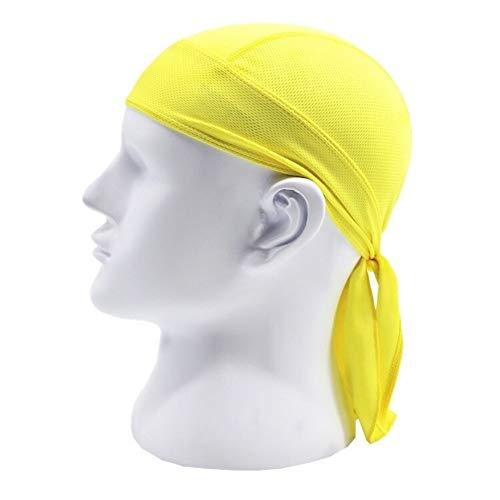 XuCesfs Schnell trocknende Totenkopf-Mütze, schweißabsorbierendes Bandana, Kopftuch, Piraten-Kopfbedeckung, Anti-UV-Kopfschutz, gelb