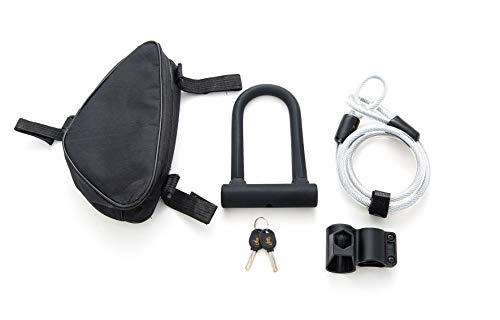 Bike U Lock - Heavy Duty Security U Cable Bike Lock with 1.2m Flex Bike Cable Lock Sturdy Mounting Bracket and Lock Bag for Road Bike Mountain Bike Electric Bike Folding Bike