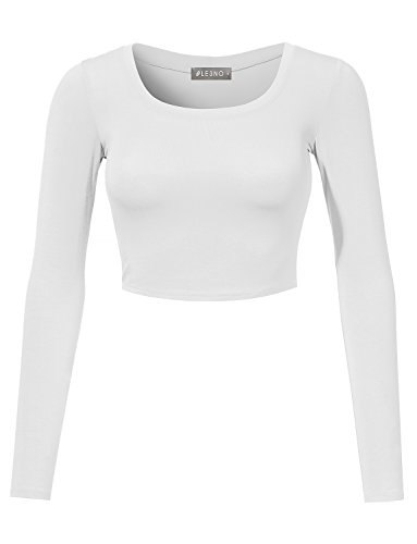 LE3NO Womens Fitted Long Sleeve Crop Top with Stretch, L3NWT1073_WHITE, Large