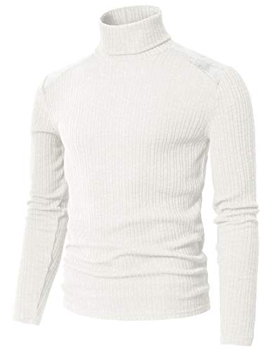 H2H Mens Slim Fit Suede Shoulder Patched Basic Turtleneck Pull Over Sweater White US M/Asia L (CMTTL099)