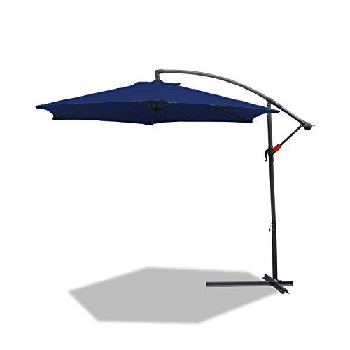 BMOT - Sombrilla de 350 cm de diámetro, Aluminio, para balcón, jardín, sombrilla con manivela, protección UV40 +