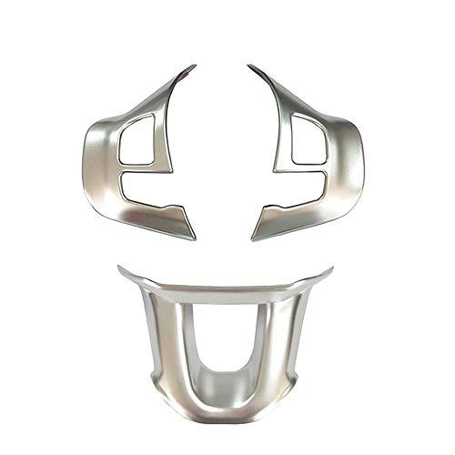 3 Pegatinas Engomada Premium del Marco Botón del Volante para 208 2008 (3 piezas de plata mate)